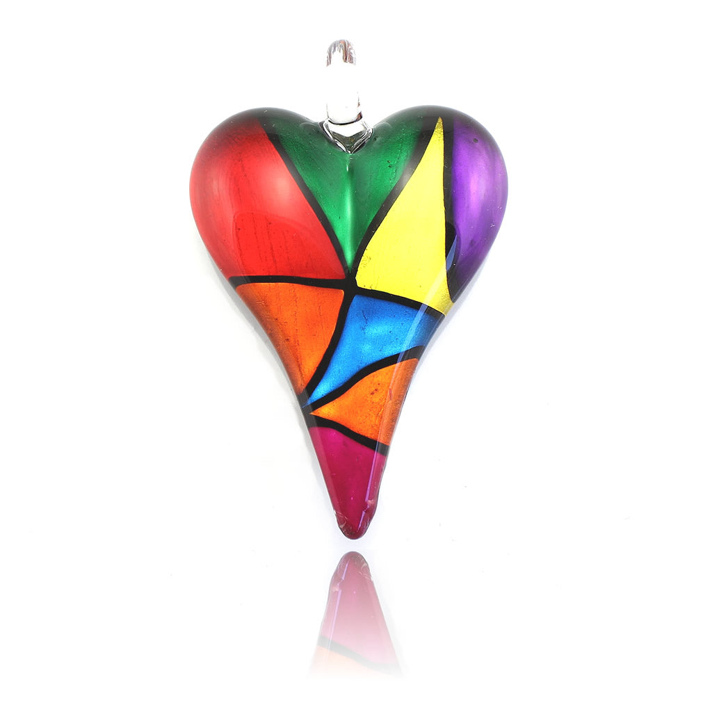 SWN551 - Multi-Coloured Glass Heart Pendant Necklace
