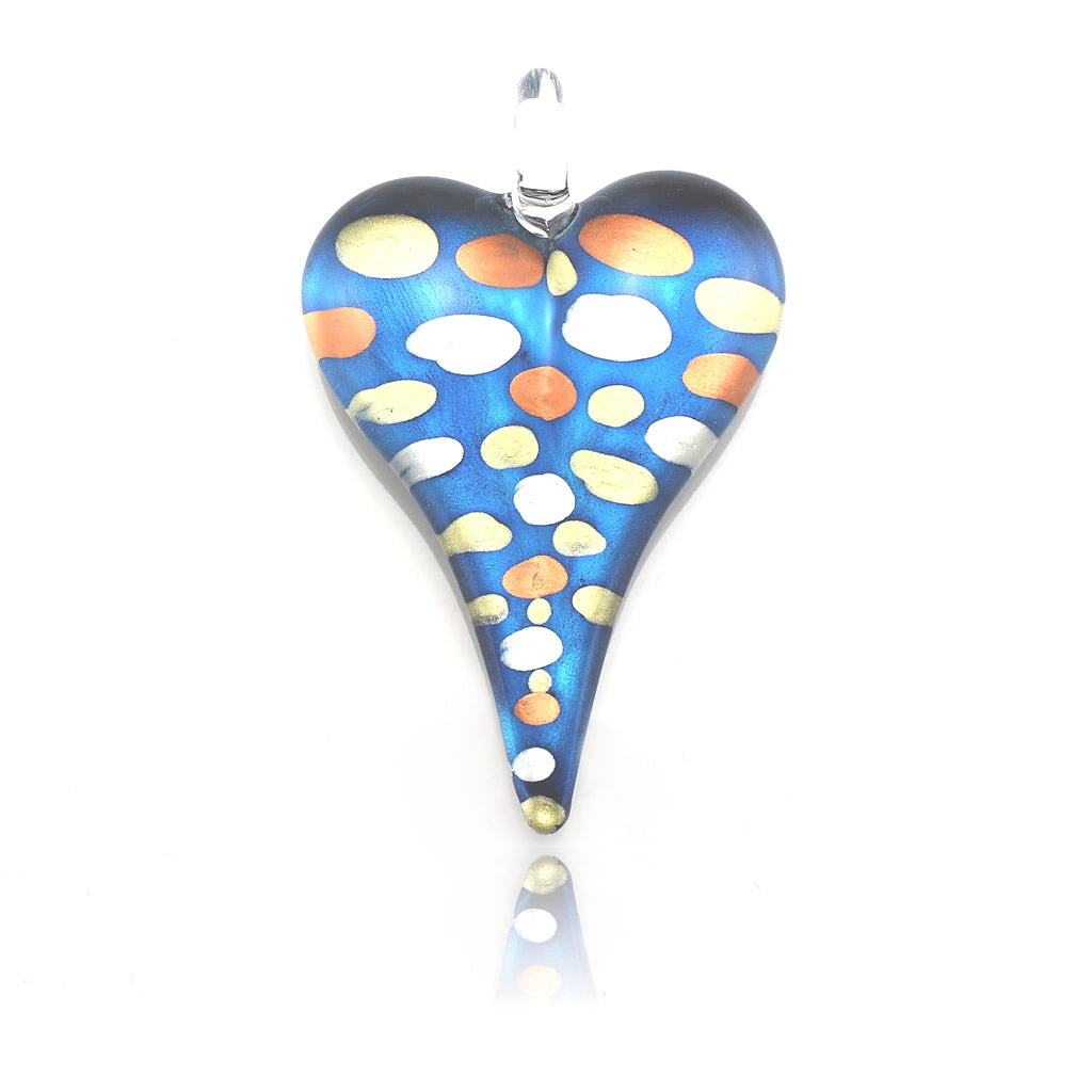 SWN555 - Blue Glass Heart Pendant Necklace