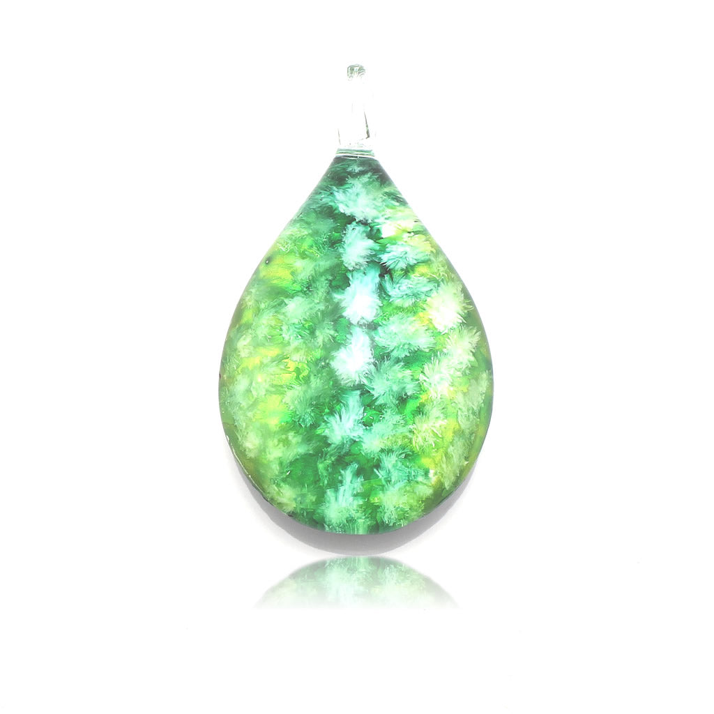 SWN559 -  Green Glass Teardrop Pendant Necklace