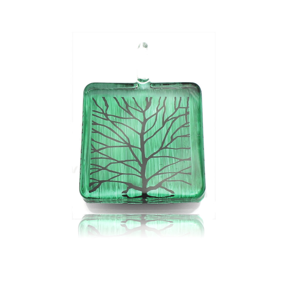 SWN561 - GREEN SQUARE BRANCH GLASS PENDANT NECKLACE