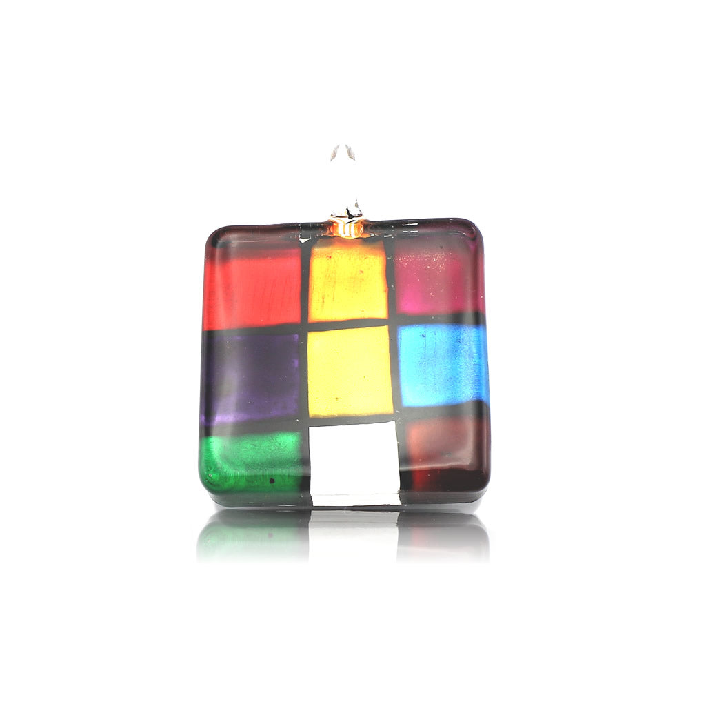 SWN563 - Multi-colour Glass Square Pendant Necklace