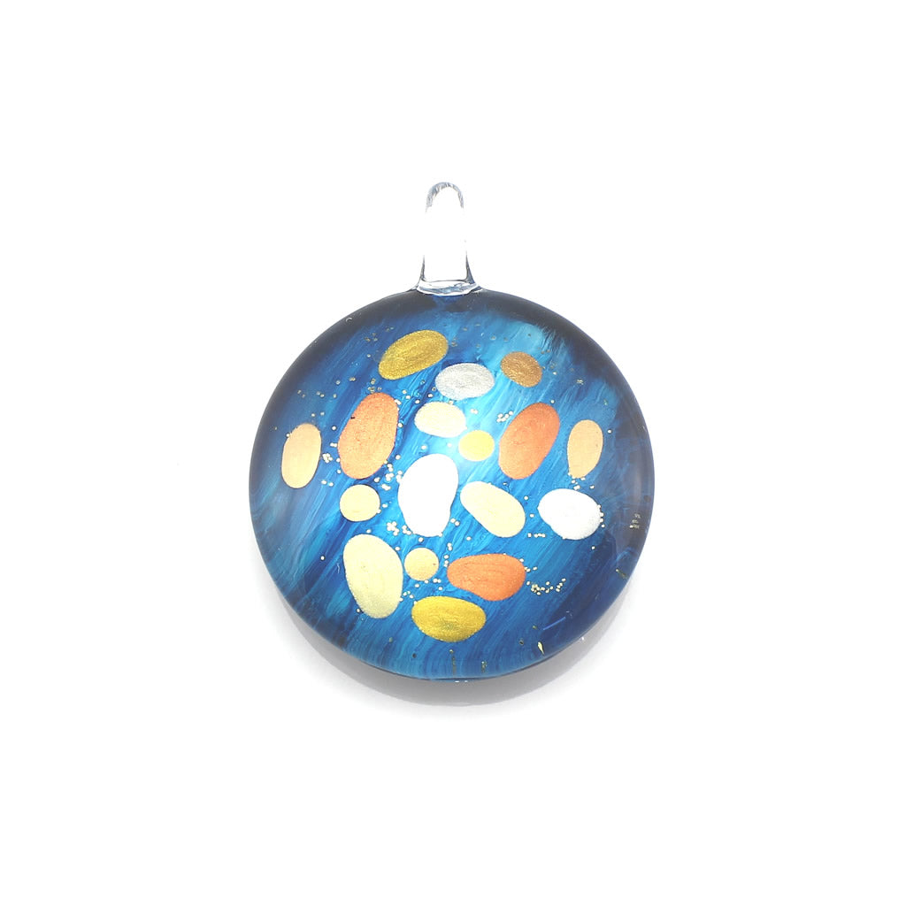SWN568 - Blue Round Glass Pendant Necklace