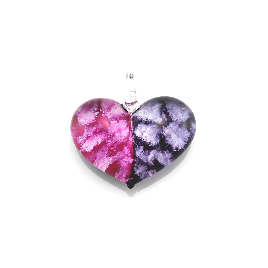 SWN569 - PINK/PURPLE TWO TONE HEART GLASS PENDANT NECKLACE