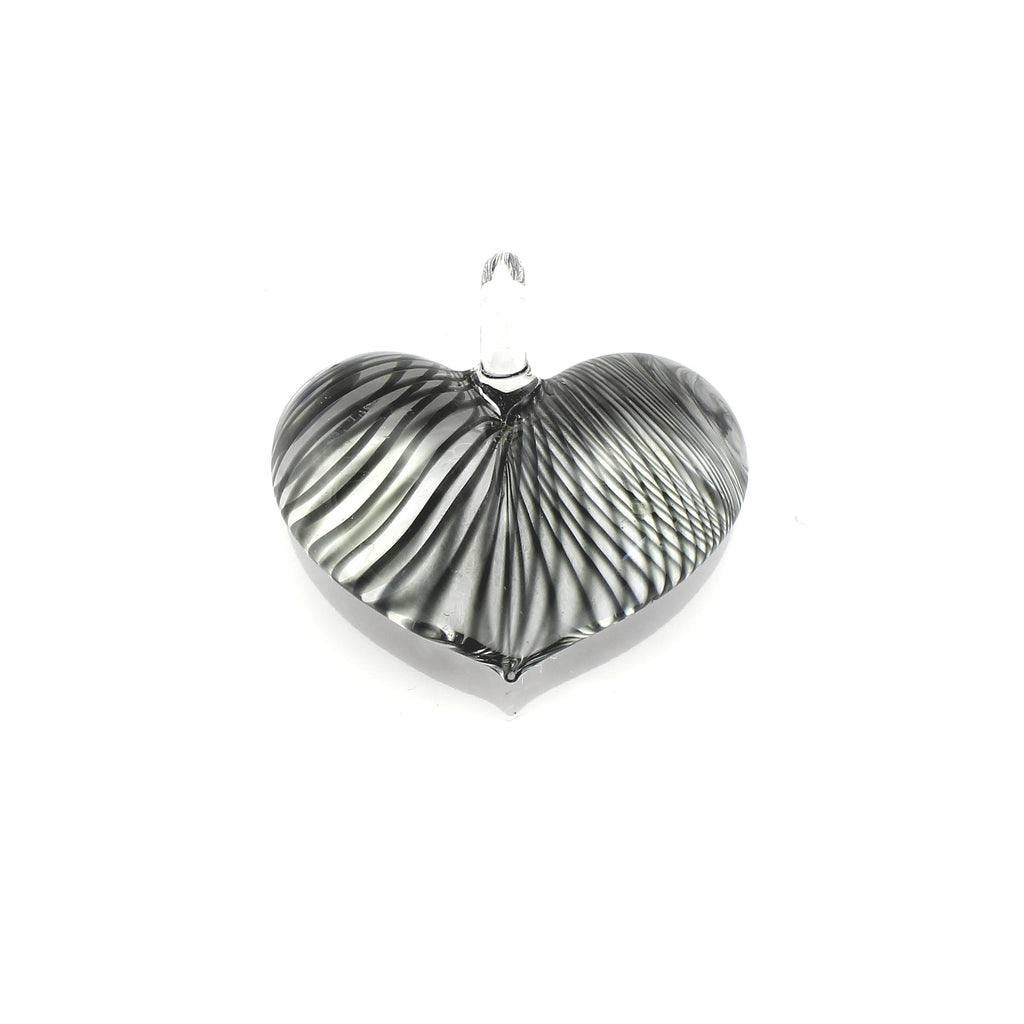 SWN570 - Black Striped Glass Heart Pendant Necklace