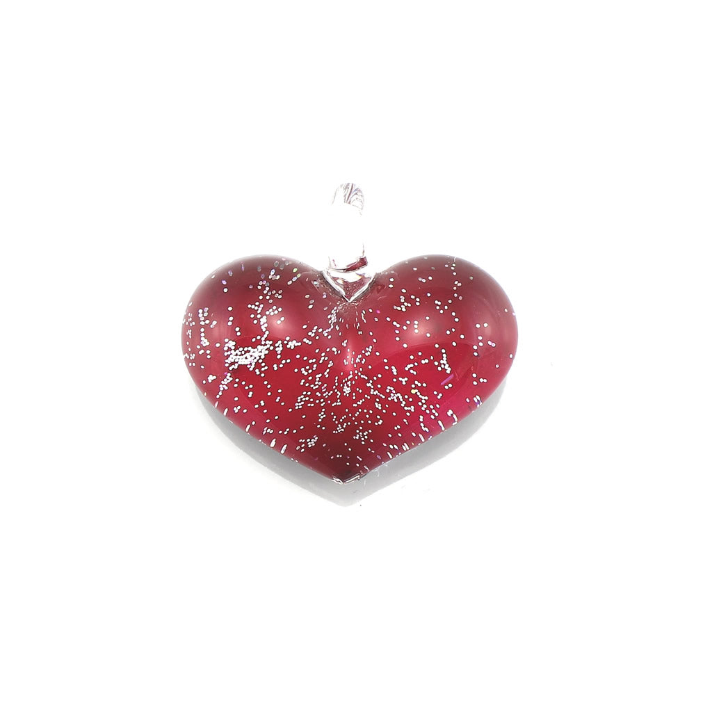SWN571 - Red Glass Heart Silver Fleck Pendant Necklace