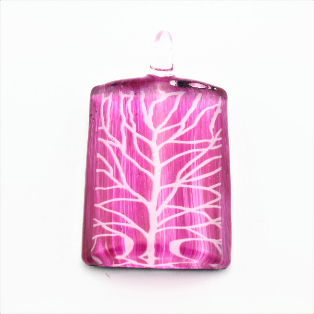 SWN577 Pink Rectangle Glass Pendant Necklace