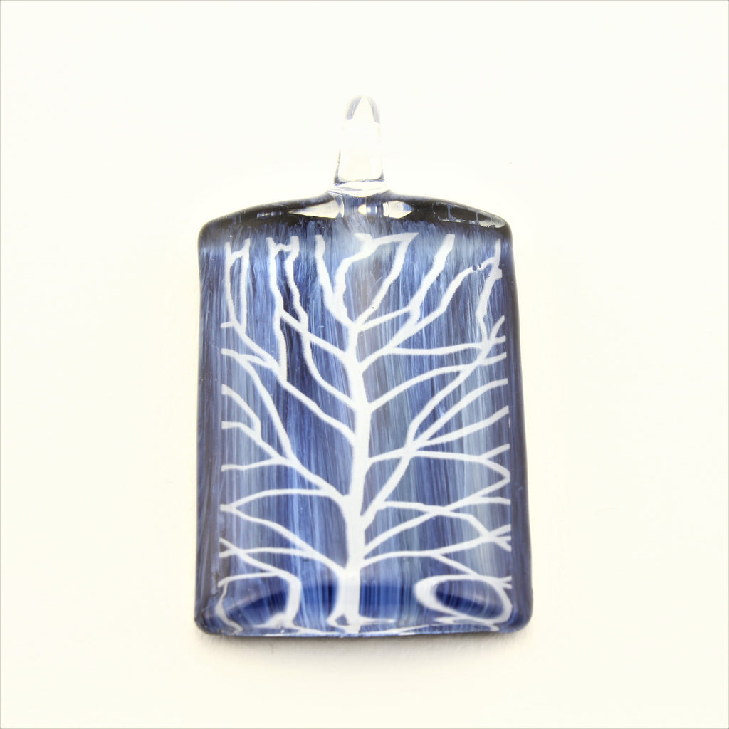 SWN578 Blue Rectangle Glass Pendant Necklace
