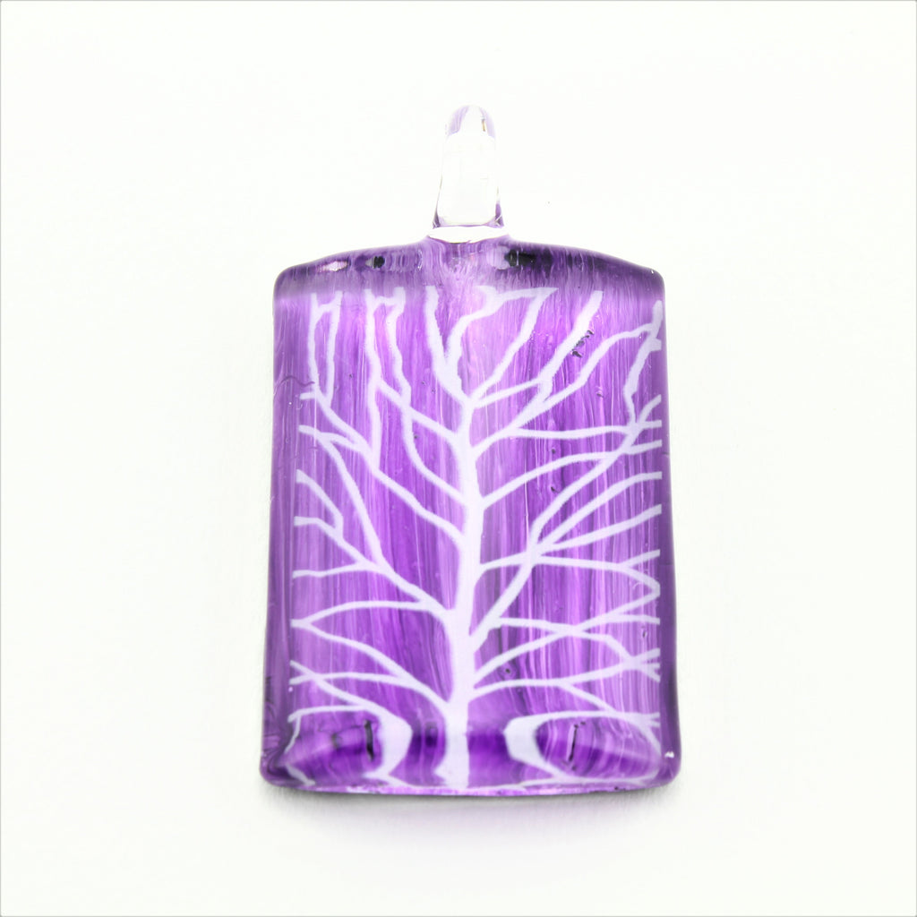 SWN579 Purple Rectangle Glass Pendant Necklace