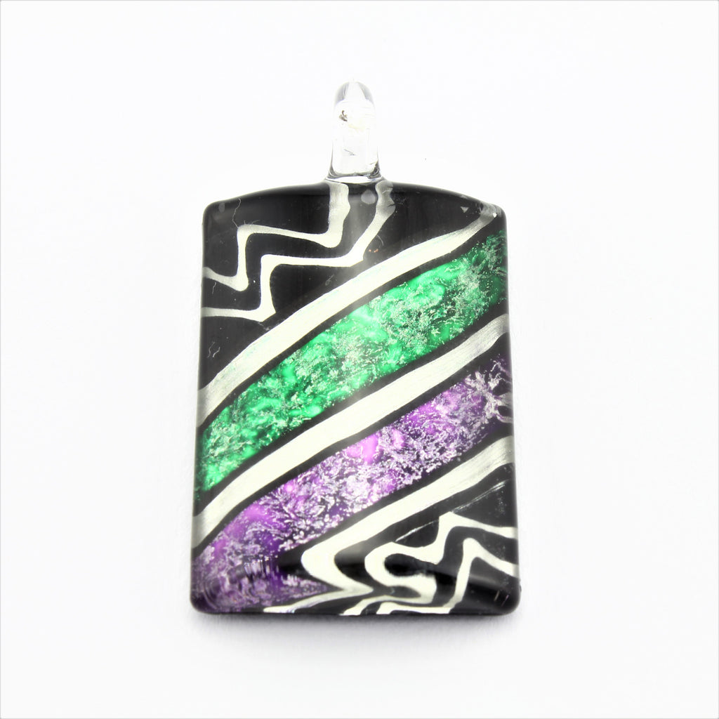 SWN583 Multi Coloured Rectangle Glass Pendant Necklace