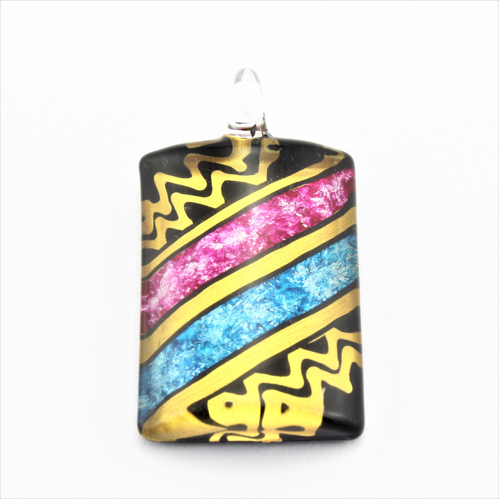 SWN584 Multi Coloured Rectangle Glass Pendant Necklace
