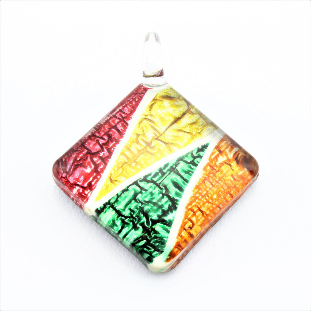 SWN585 Multi Coloured Diamond Glass Pendant Necklace