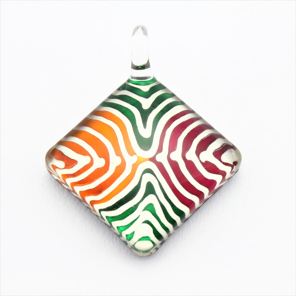 SWN586 Multi Coloured Diamond Glass Pendant Necklace