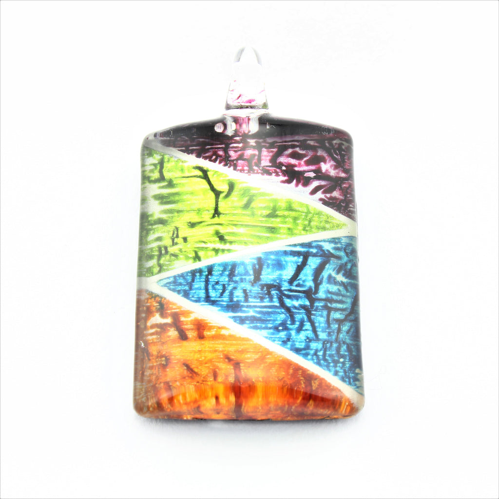 SWN587 Multi Coloured Rectangle Glass Pendant Necklace