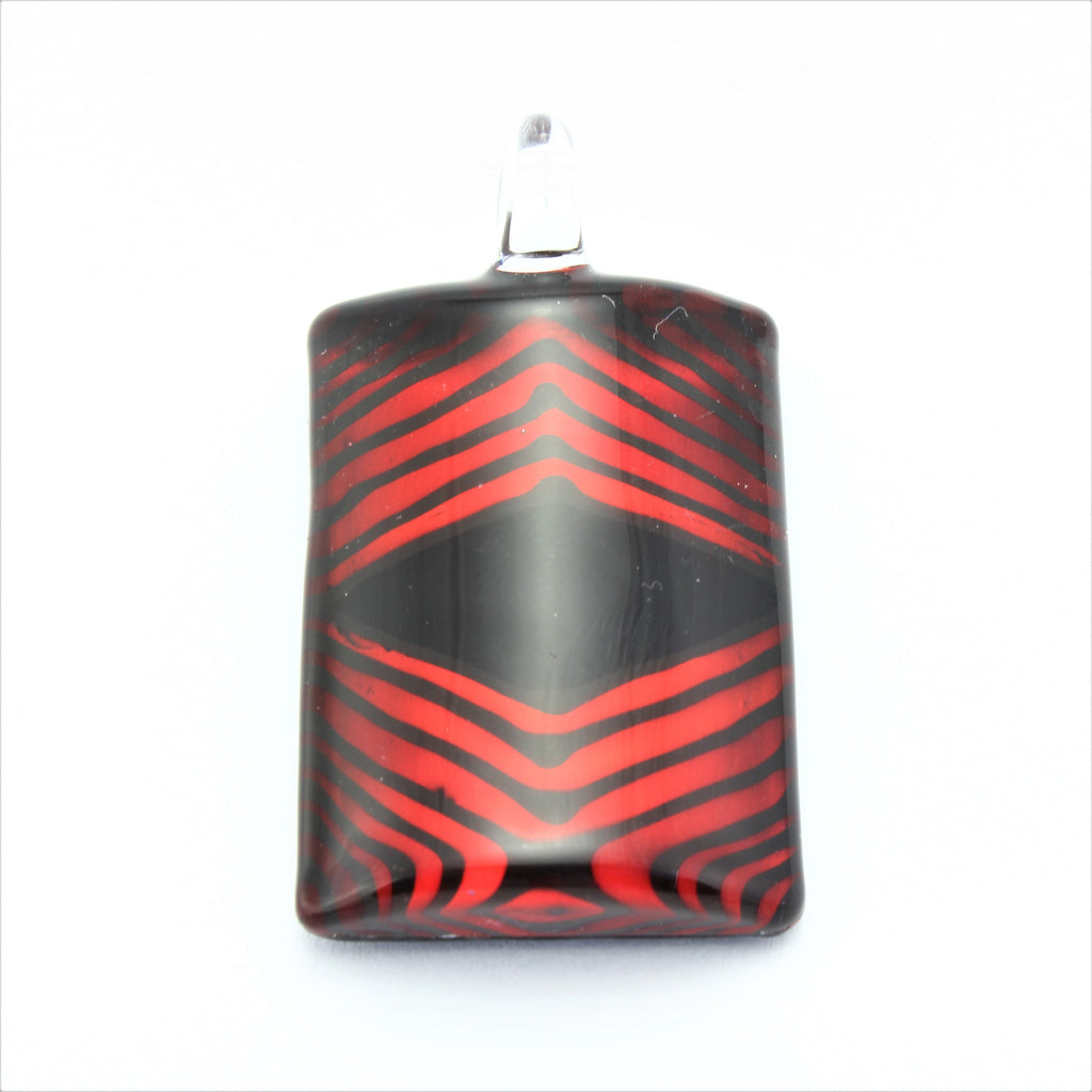 SWN589 Red/Black Rectangle Glass Pendant Necklace