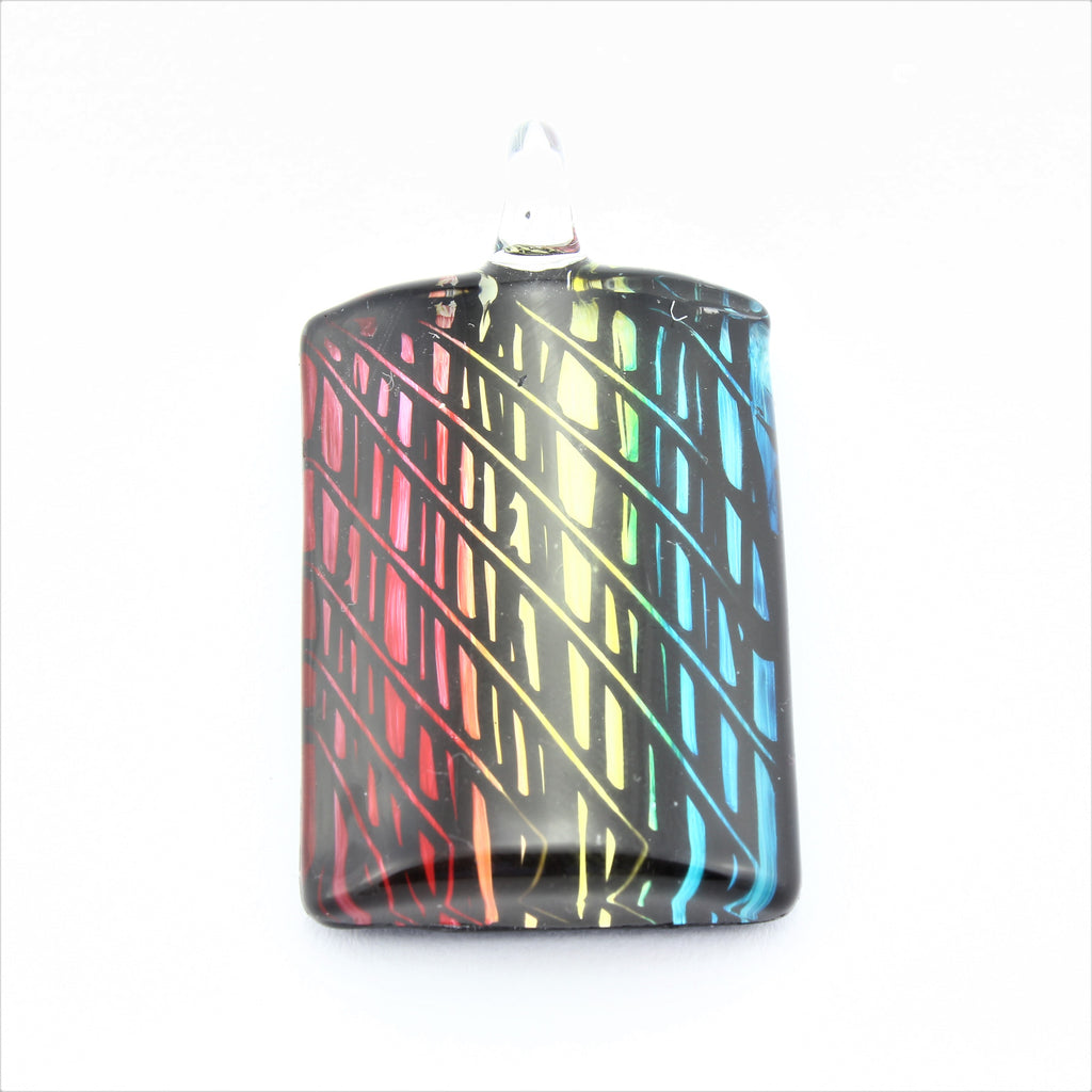 SWN590 Multi Coloured Rectangle Glass Pendant Necklace