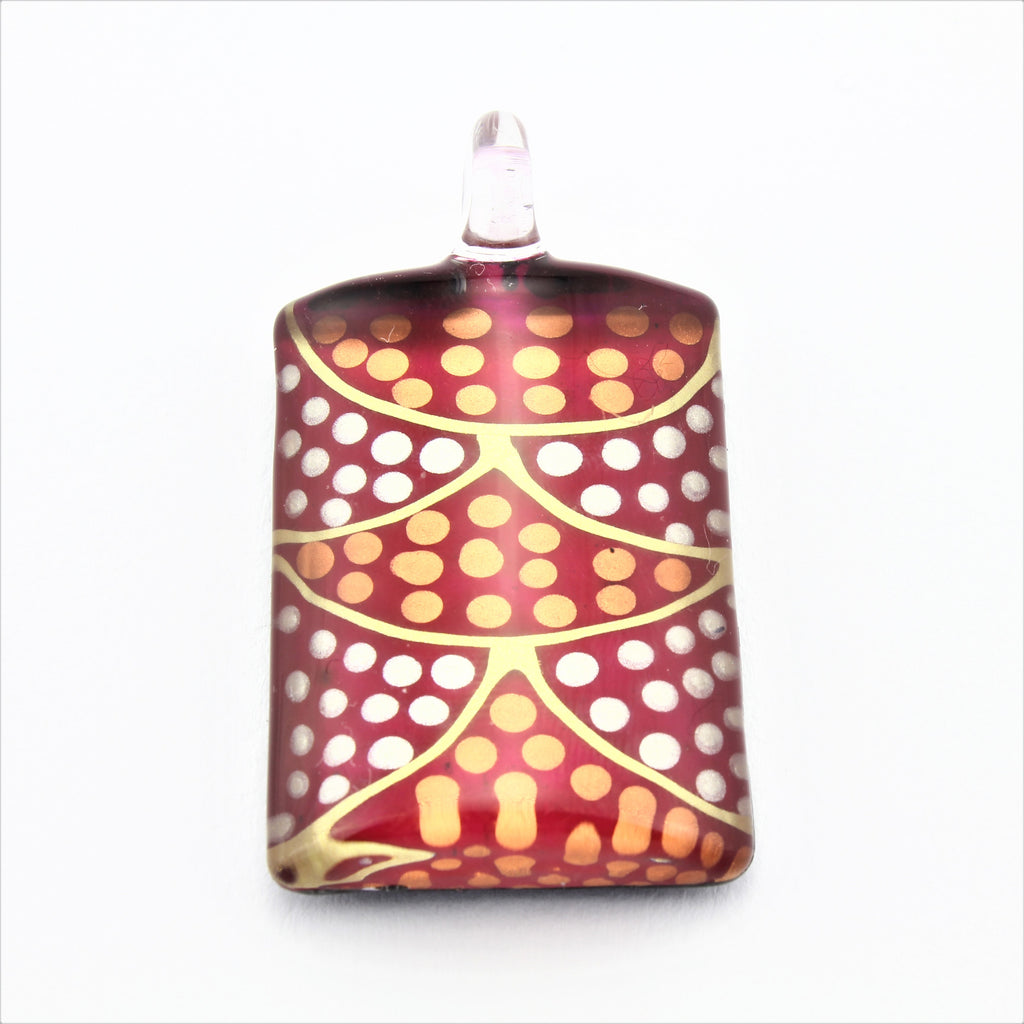 SWN591 Red Dotty Rectangle Glass Pendant Necklace