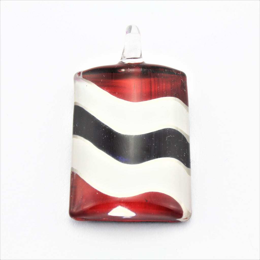 SWN594 Red/White/Black Rectangle Glass Pendant Necklace