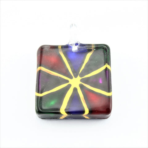 SWN596 Multi Coloured Square Glass Pendant Necklace
