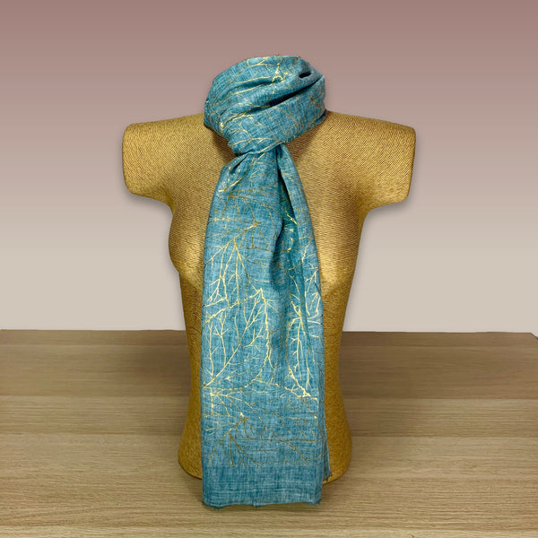 Light Blue Gold Foil  Print Scarf