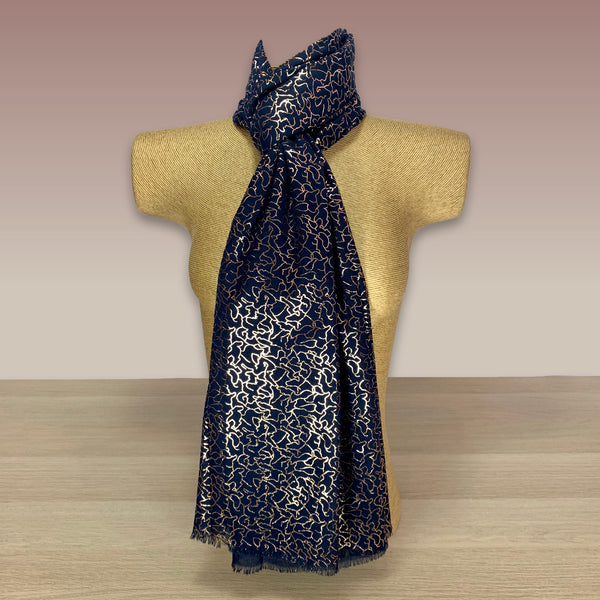 Navy Rose Gold Foil  Print Scarf