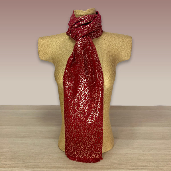 Red Rose Gold Foil  Print Scarf