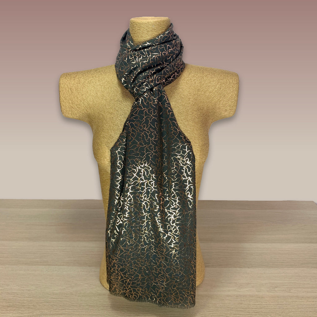 Dark Grey, Rose Gold Foil  Print Scarf