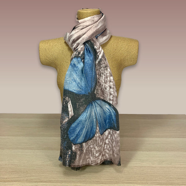 Light Pink/Blue Butterfly Print Scarf