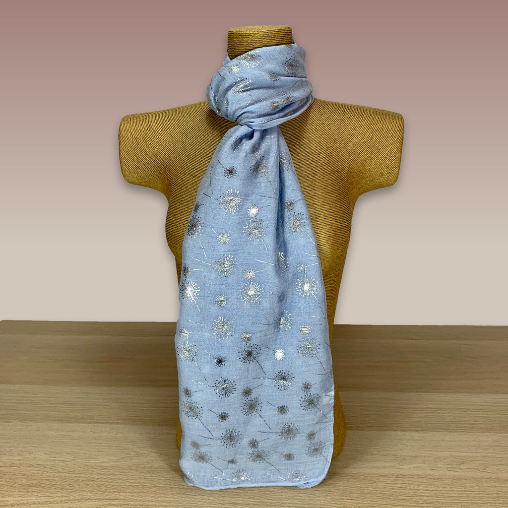 Light Blue, Dandelion Foil Print Scarf