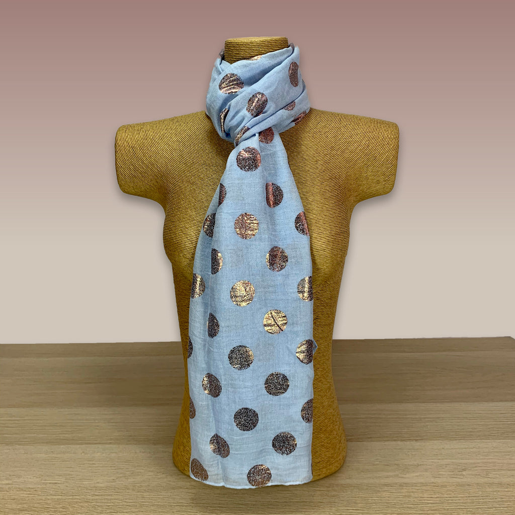 Light Blue, Rose Gold Circle Foil Print Scarf