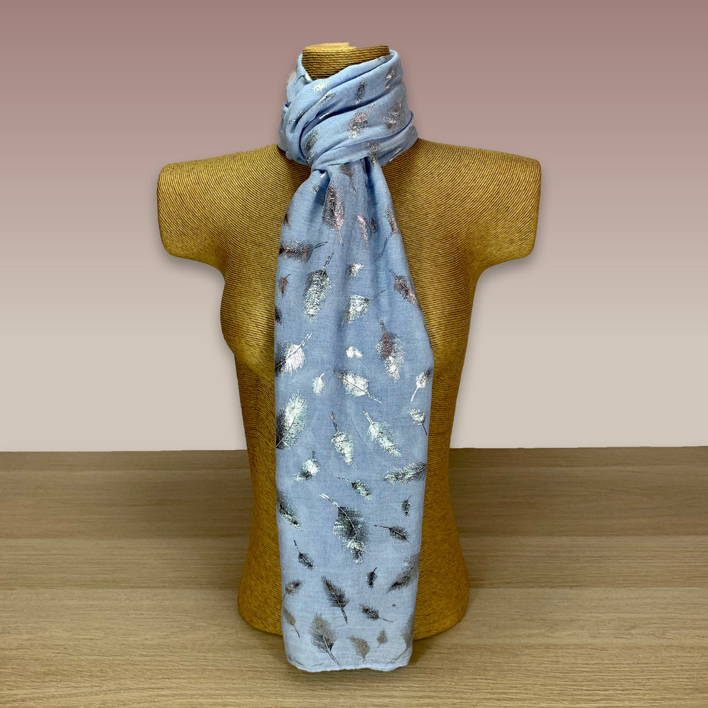 Light Blue Silver Leaf Foil Print Scarf