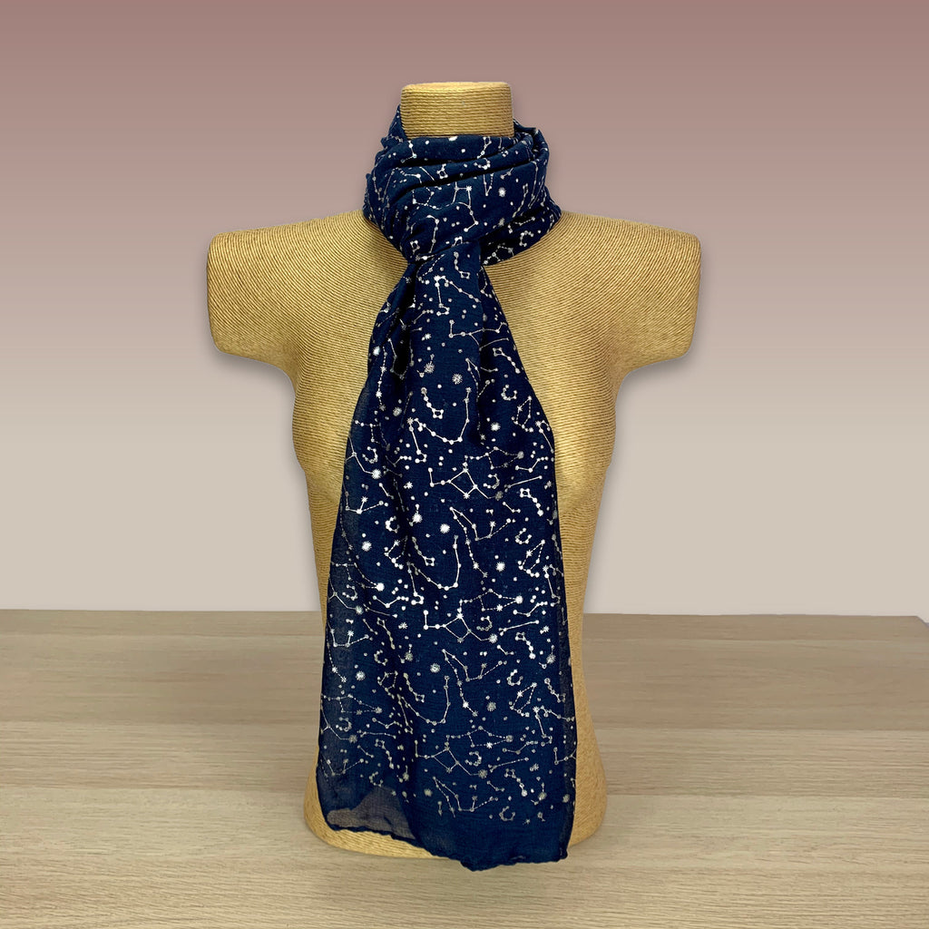 Navy, Silver Foil, Constellation  Print Scarf