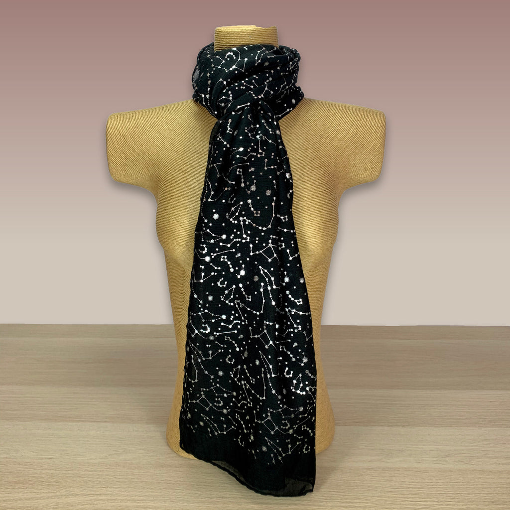 Black, Silver Foil, Constellation  Print Scarf