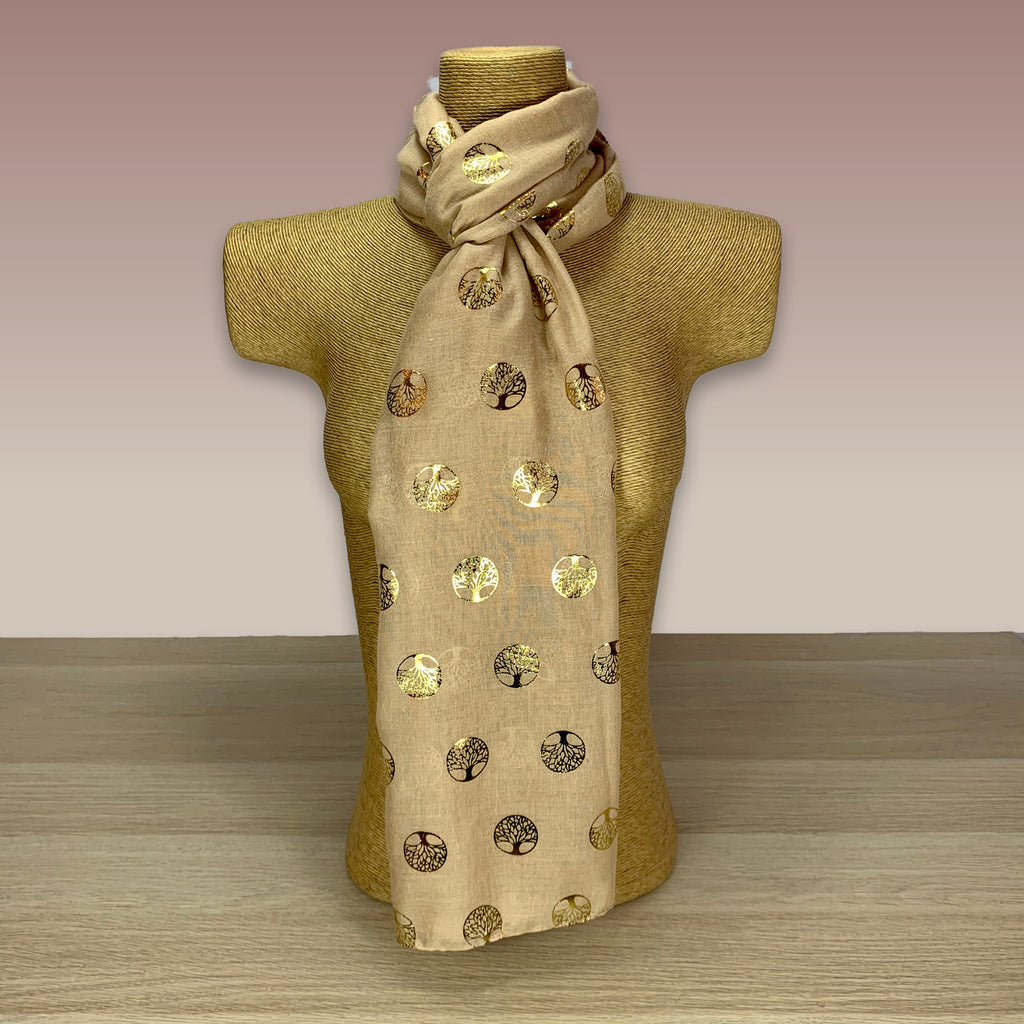Caramel, Gold Foil, Tree Of Life  Print Scarf