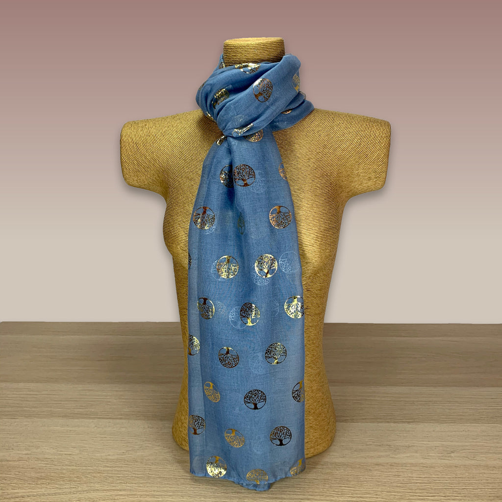 Light Blue, Gold Foil, Tree Of Life  Print Scarf