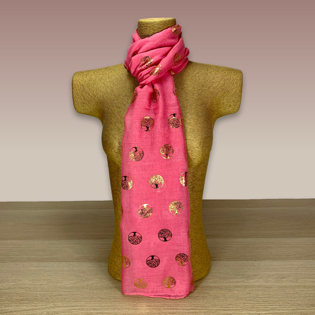 Pink, Gold Foil, Tree Of Life  Print Scarf