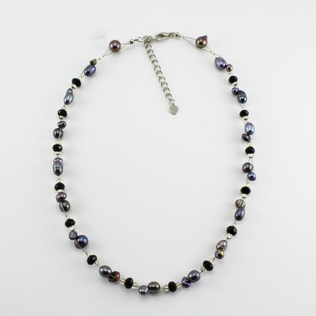SWN0017GY - SOPHIE - Grey Freshwater Pearl Necklace