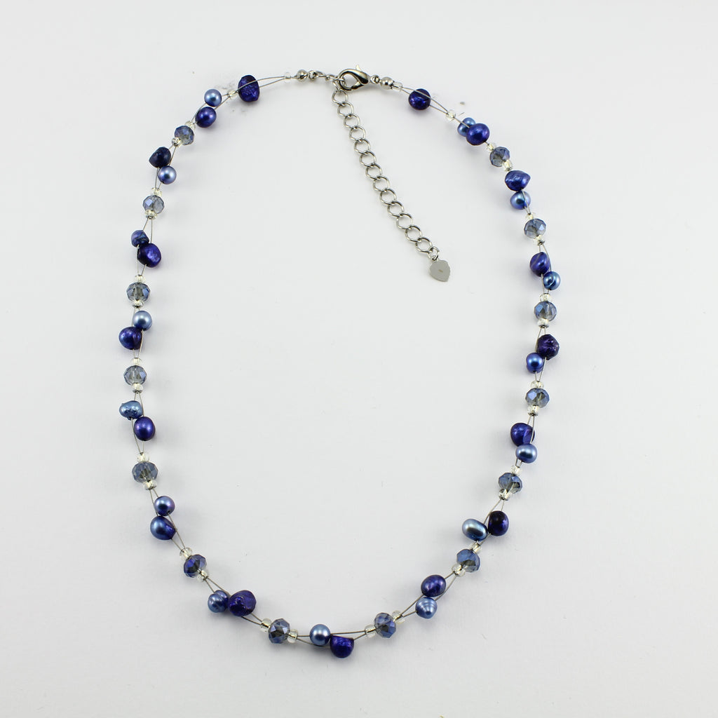 SWN0017BL - SOPHIE - Navy Freshwater Pearl Necklace