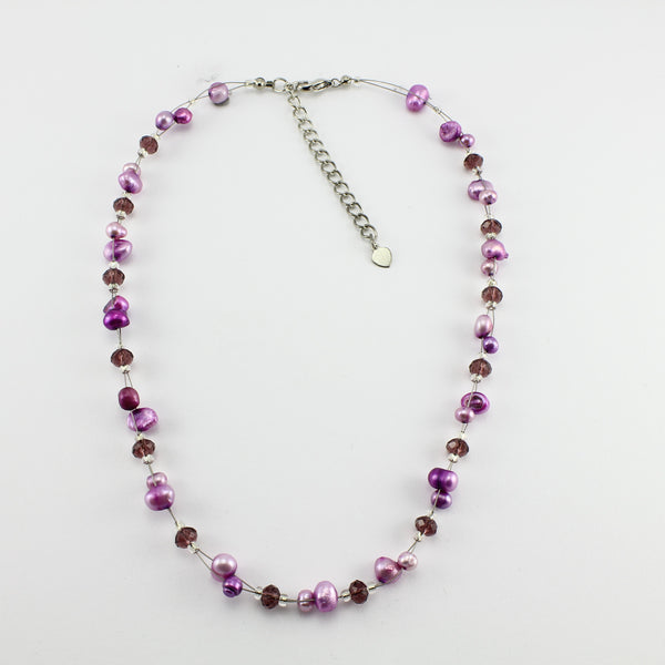 SWN0017PU - SOPHIE - Purple Freshwater Pearl Necklace
