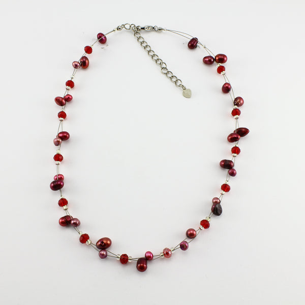 SWN0017RE - SOPHIE - Red Freshwater Pearl Necklace
