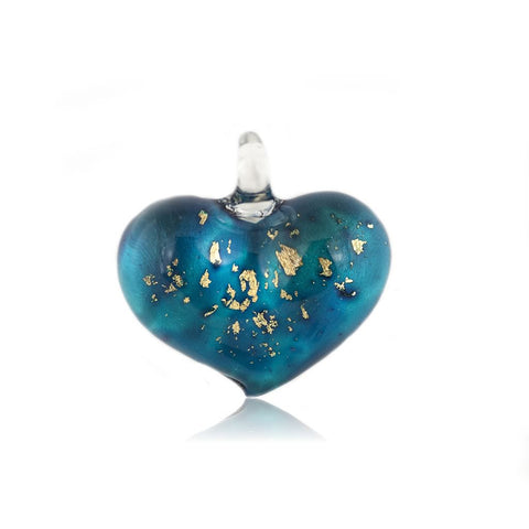 SWN523 - Blue Glass Heart Gold Fleck Pendant Necklace