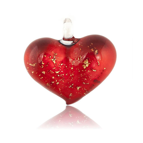 SWN522 - Red Glass Heart Gold Fleck Pendant Necklace