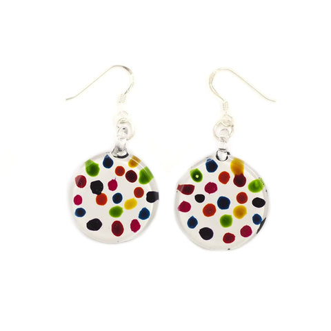 SWE507 - WHITE ROUND MULTI COLOURED DOT DROP EARRING