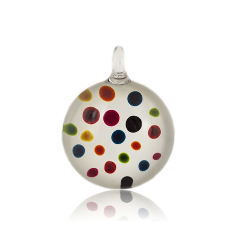 SWN507 - WHITE GLASS ROUND MULTI COLOURED DOT PENDANT NECKLACE