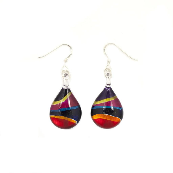 A beautiful hand-made lampwork glass neon stripe rectangle earring individually painted. With sterling sliver hooks.