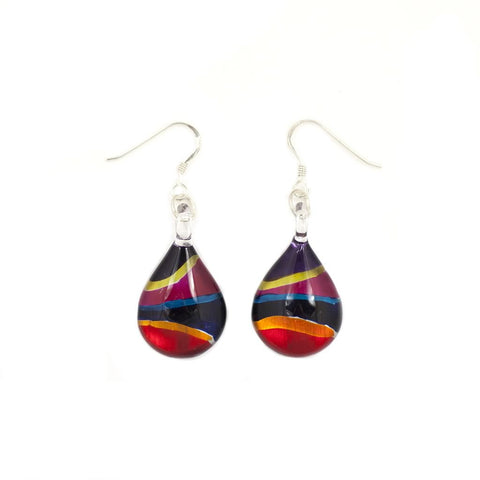 SWE501 - MULTI-COLOUR TEARDROP GLASS DROP EARRING