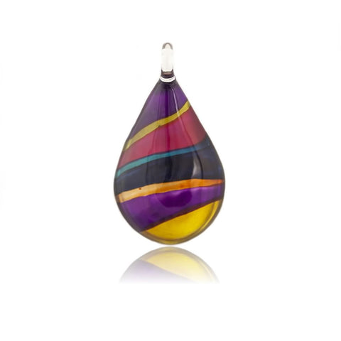 SWN501 - MULTI COLOURED TEARDROP GLASS  PENDANT NECKLACE