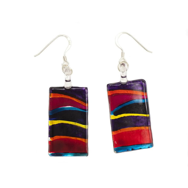 SWE502 - Multi-colour Glass Rectangle Drop Earring