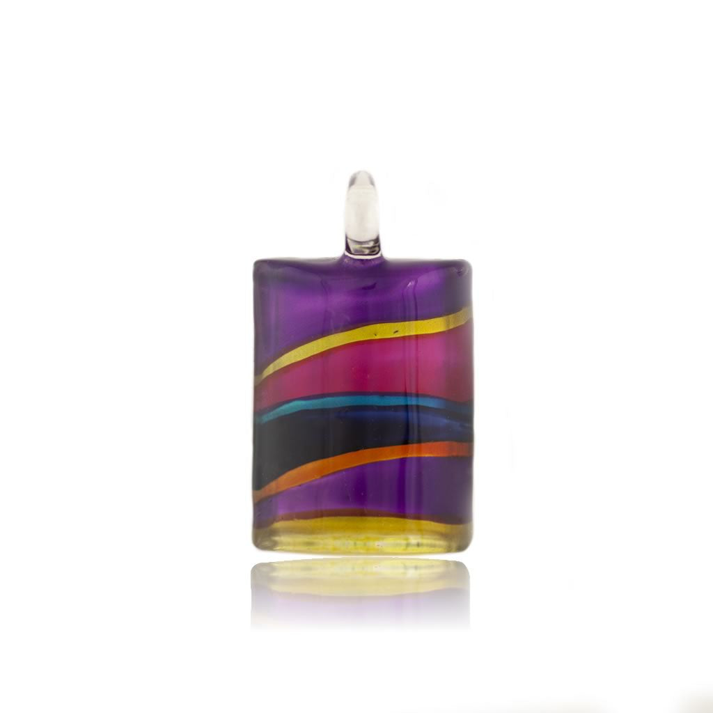 SWN502 - Multi-colour Glass Rectangle Striped Pendant Necklace