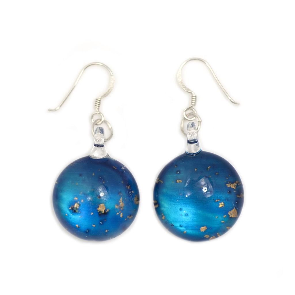 A hand-made lampwork glass earring individually painted. With sterling sliver hooks.