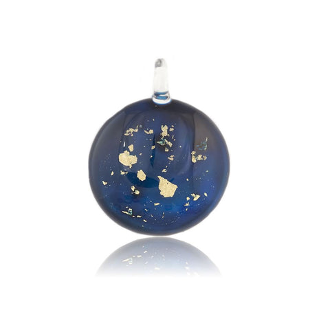 SWN521 - Midnight Blue Glass Round Gold Fleck Pendant Necklace